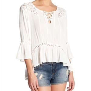 Romeo Juliet Couture White Peasant Blouse Shirt